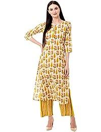 Kimayra Women's Straight Cotton Printed Kurta Pant Set (Yellow)