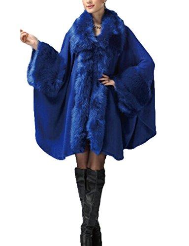 PLAER aux femmes Faux Fox Fur Châle Cape revêtement European American Cardigan de style Jacket Bleu Marine
