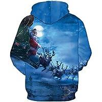 TING Santa Sleigh Digital 3D Printed Hooded Sweater Amantes de Gran tamaño Uniforme de béisbol,M