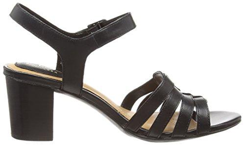 Leather Damen black Knöchelriemchen Zuri Schwarz Sandalen Ralene Clarks w1ZFq00