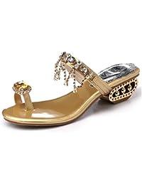 Minetom Mujer Verano Elegante Bohemia Diamantes De Imitación Sandalias Chanclas Borla De Los Granos Planos Zapatos Playa
