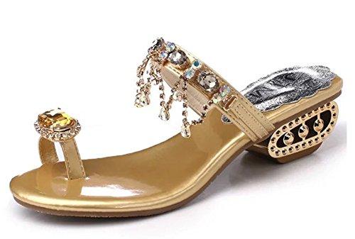 Minetom Donna Ragazza Estate Dolce Boemia Strass Perline Sandali Modello Con Infradito Piatte Scarpe Piatto Spiaggia Oro