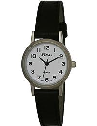 Ravel Damen-Armbanduhr, Analog, schwarzes PU-Armband, weißes Zifferblatt, R0102.02.2
