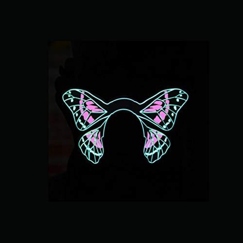 (LED Kostüm Maske Sound Aktiviert, Cosplay Leuchten Party Cyber Rave Maske Für Halloween Club Festivals Weihnachtsgeschenke (Farbe : E))