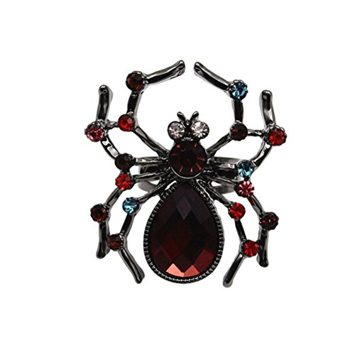 OULII Spider Shape Ring Punk Creative Halloween Vintage Colored Opening anillo ajustable para mujeres hombres Halloween Party Decoration