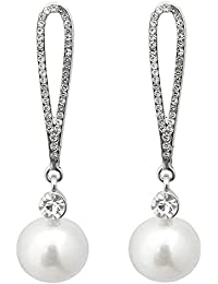 JewelMaze Austrian Stone Silver Plated Pearl Dangler Earrings-1313614