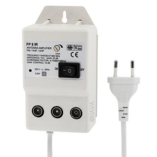 Digital Antennenverstärker für 2 Geräte - Verstärkung UHF 20dB VHF 36dB 0 - 900 MHz - geeignet für Kabel-TV DVB-T Sky (Uhf-digital-tv-antenne)
