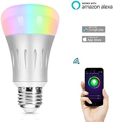 Smart Wifi Luz Bulb, hompie 7W E27(= E26) blanco y RGB LED bombillas 60W equivalente funciona con Alexa Amazon Echo mando a distancia por Smartphone. 16MILLONES de colores intensidad regulable cambio para fiesta de Navidad