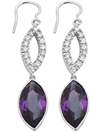 Burgmeister Jewelry Damen-Ohrhänger Zirkonia lila rhodiniert 925 Sterling Silber JHE1007-221