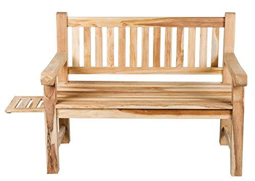 2-Sitzer Teakbank Gartenbank ink. ausziehbarem Tablett ca. 120 cm breit Sitzbank Parkbank Holzbank Teak Bank - 5