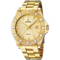 Festina Vendome - Reloj de cuarzo para mujer, con correa de acero inoxidable, color dorado