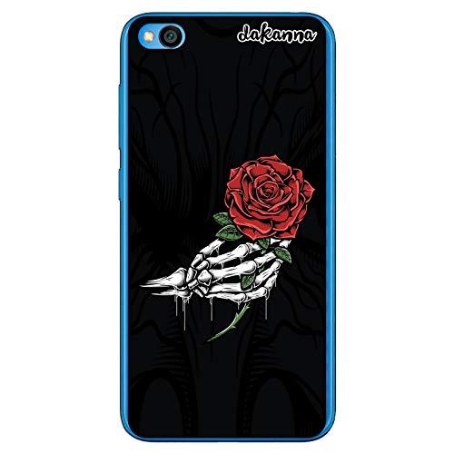 dakanna Funda Compatible con [Xiaomi Redmi Go] de Silicona Flexible, Dibujo Diseño [Mano de Esqueleto y Rosa roja], Color [Borde Transparente] Carcasa Case Cover de Gel TPU para Smartphone