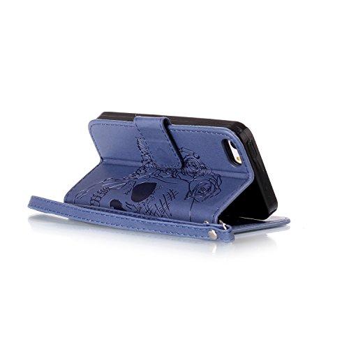 iPhone 6Custodia Sottile, toyym iPhone 7PU Custodia in pelle per carte di credito e contanti], Pretty fiore 3d Acchiappasogni Pressed Pattern Custodia a portafoglio Flip Chiusura Magnetica Book Desi Dark Blue Skull