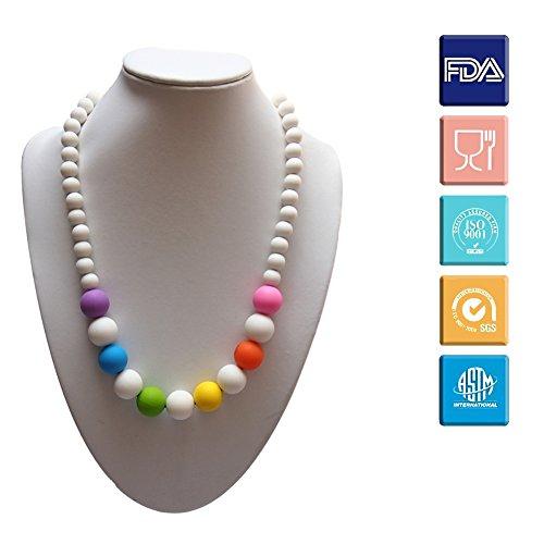 Kaigeli® Baby Silikon Beißring, Lebensmittelqualität BPA-freie bunte Perlen Kinderkrankheiten Halskette Beißring für Mama zu tragen