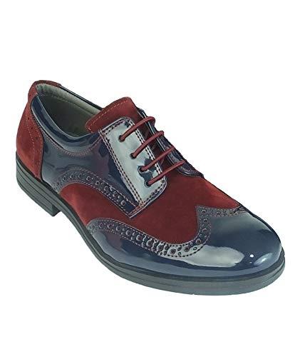 Scarpe stringate da uomo in pelle scamosciata color blu marino e bordeaux 29 eu