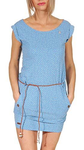 Ragwear Damen Minikleid Tag Dots hellblau - XL - Baumwolle Jersey Kleid Shirt