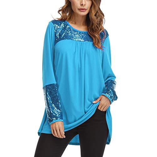 ♥ Loveso♥ Damen Fashion Patchwork Bekleidung Rundhals Ausschnitt Oberteile Plus Size Lose Tunika Tops