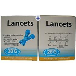 100 Lancetas 28G Universales - Totalmente Compatibles con Autolet / Microlet / Auto Mini / Glucolet / Hemalet / Penlet II / Soft Touch / AutoLancet / BD Lancet Device / Freestyle / SD Codefree