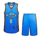 BUY-TO Donnermannschaft 0 Westbrook Jersey Basketball-Uniform Genähte Herren Shorts,Blue,XXL
