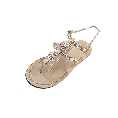 Bohemian Sandalen Damen,❤️Absolute Frauen Große Größe Perlen Pantoffeln Sommer Neue Flip-Flops Scheinen Strass Strandschuhe T-Riemen Bequeme Schuhe Elegante Flache Clogs (EU:42/CN:43, Gold)
