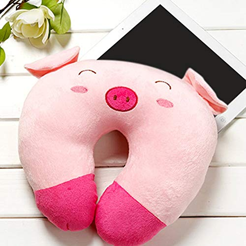 Bobopai Travel Pillow, U-Shaped Neck Pillow for Travelling Or Flight Pillow, Plush Pillow Travel Pillow Cartoon Animal Car Headrest,Suitable for Adults Kids(Style 1,Pink Pig)