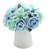 Chunqi Unechte Blumen,K¨¹nstliche Deko Blumen Gef?lschte Blumen Seidenrosen Plastik 9 K?pfe Braut Hochzeitsblumenstrau? f¨¹r Haus Garten Party Blumenschmuck