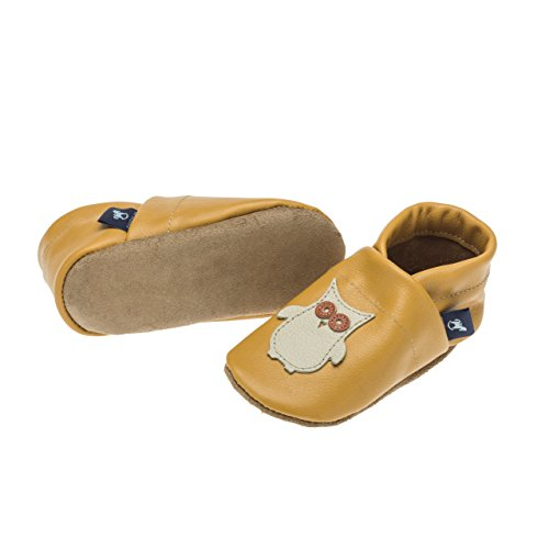 pantau.eu Kinder Lederpuschen Babyschuhe Leder Krabbelschuhe Lauflernschuhe Hausschuhe mit Eule GELB_BEIGE_ORANGE