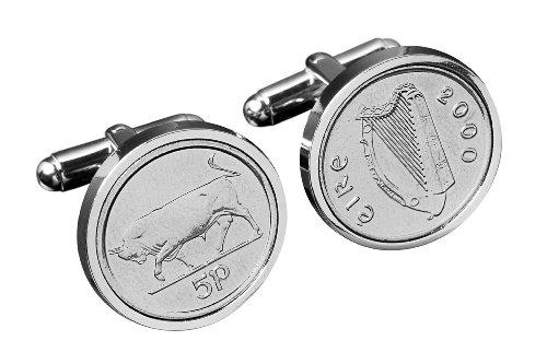 Irish Gemelli - Genuine regalo 5p Cufflink.Silver Bull irlandese