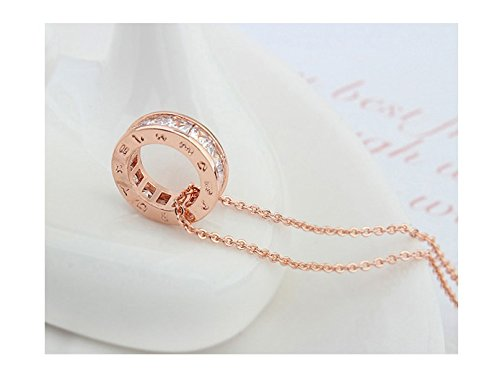 Circle Pendant Necklace with White Zirconia Crystals 18K Silver Rose Gold Plated Necklaces for Women with 18″ Chain