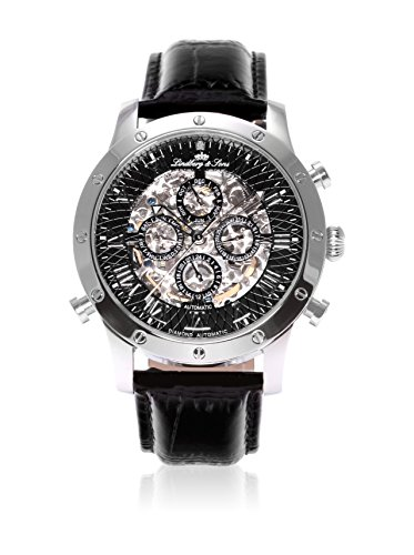 Lindberg & Sons - SK14H002 - Montre Homme - Automatique Analogique - Cadran Noir - Bracelet Cuir Noir