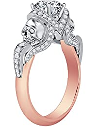 Silvernshine 1.52Ct Clear CZ Diamond 14K Rose & White Gold Plated Engagement Two Skull Design Ring