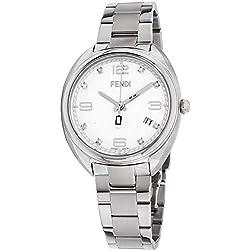 Fendi Momento Reloj de Mujer Diamante Cuarzo 34mm Correa de Acero F211034000D1