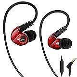 adorer Écouteurs Sport RX6 Basses Intra-auriculaire avec Micro, Isolation de bruits Bouchon Écouteurs pour iPhone, Samsung, Smartphones - Rouge