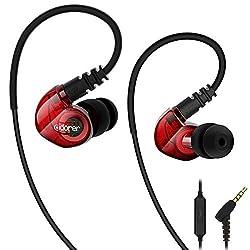 Adorer Sport Kopfhörer RX6 In-Ear Kopfhöre mit Mikrofon IPX4 Wasserschutz Stereo Ohrhörer für iPhone, iPad, Samsung, Android, MP3 - Rot