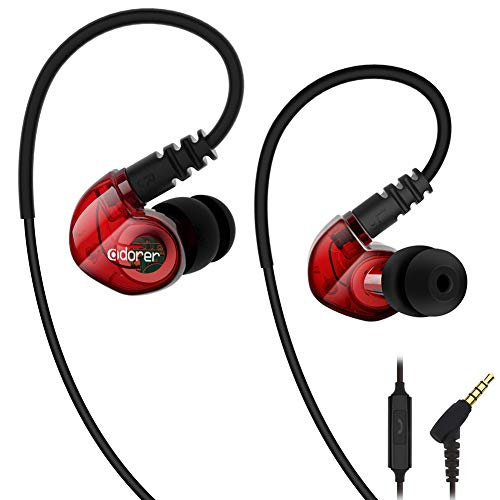 Adorer auricolari sport rx6 stereo auricolari in-ear con microfono, ipx4 impermeabile cuffie per iphone, ipad, samsung, huawei, android ed altri smartphone - rosso