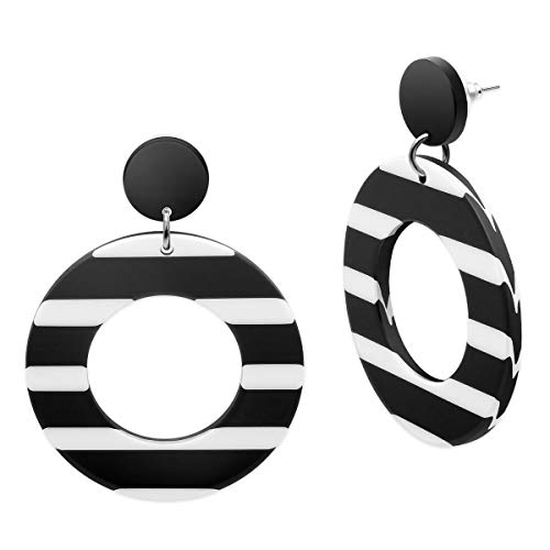 SoulCats® 1 Paar Statement Ohrringe Creolen schwarz weiß gestreift