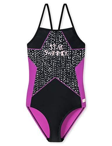 Schiesser Mädchen Aqua Badeanzug, Schwarz 000, (Herstellergröße: 128)
