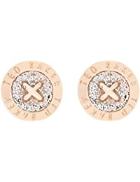 Ted Baker Eisley Rose Gold and Silver Glitter Enamel Mini Button Earrings
