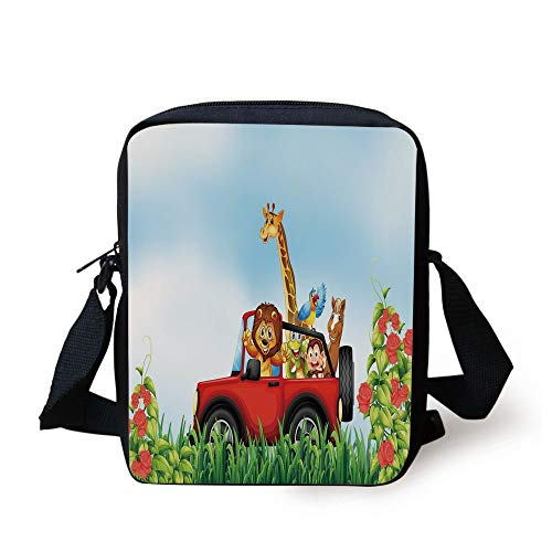 Zoo,Cartoon Style Wildlife Animals Riding a Car in Park with Grass and Roses Journey Trip,Multicolor Print Kids Crossbody Messenger Bag Purse