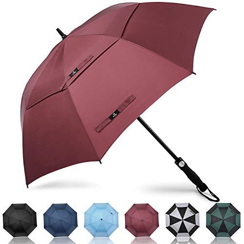 Prospo Golf Umbrella 62/68 Inch Large Automatic Open Windproof Stick Paraguas extragrande con doble techo ventilado