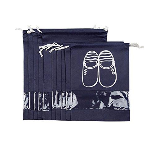 aveson 10Stück tragbar Staubdicht Atmungsaktiv Travel Schuh Organizer Taschen für Stiefel, High Heel –-Kordelzug, transparentes Fenster, platzsparende Aufbewahrung Taschen, 5große + 5Medium Größe, schwarz (Heel Stiefel Medium)