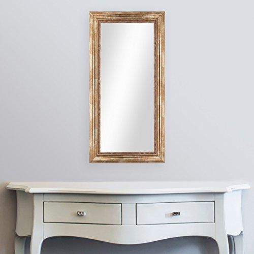 PHOTOLINI Wand-Spiegel 40x70 cm im Massivholz-Rahmen Barock-Stil Antik Gold/Spiegelfläche 30x60 cm
