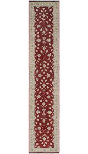 Noori Rug Teppich Nuri Handarbeit Bereich Teppich, Wolle, Burgund/Elfenbein, 2'12,7cm X 12' 20,3cm (Teppich Traditionellen Bereich Elfenbein)