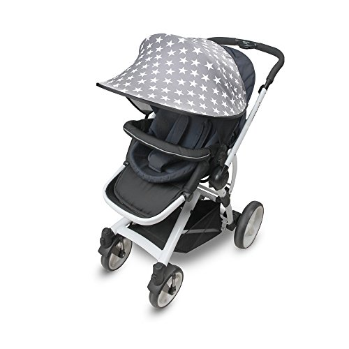 [Manito] Sunshade Scandi / Sonnenschirm für Kinderwagen, Sportkinderwagen und Autositz, Weitsonnenschutz, UV-Cut, Universal und einfache Installation (star_grey)
