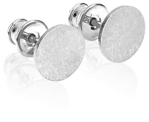 modabilé Damen Ohrstecker Rund aus 925 Sterling Silber (8mm) CIRCLE Ohrringe Silber Rhodiniert: Kreis, Klein & Flach + Geschenk-Etui I Made in Europe