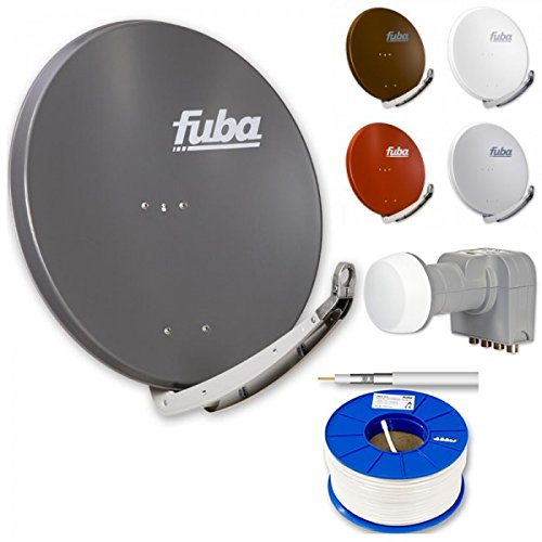 Fuba Digital HDTV Sat-Anlage 4 Teilnehmer | Fuba DAA 850 Premium Aluminium Sat-Antenne in Wunschfarbe + DEK 416 Quad LNB + 100m Fuba KKE 300 Koaxialkabel