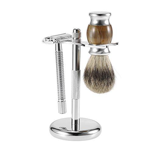Anself Kit de Afeitado para Hombres de Brocha de Afeitar de Tejón / Soporte / Maquinilla Afeitada Clásica de Doble Lado
