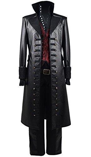 Yewei Märchen TV-Serie Piratenkapitän Kostüm Herren Halloween Weste Mantel Outfit (Schwarz und Rot, L) (Haken Captain Kostüm Hook)