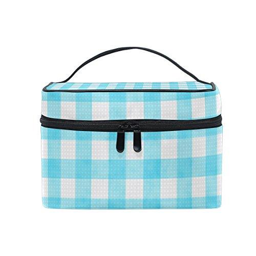 ALAZA Sac cosmétique bleu vichy à carreaux Checkered Stripe Maquillage Voyage cas de stockage organisateur