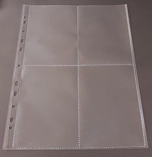 fotohuellen 10x15 100x A4 Sammelhüllen, Prospekthüllen, Kartenhüllen, 120my, geteilt auf 4 Fächer (A6)